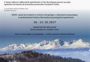 34. sjezd Slovenské a České společnosti alergologie a klinické imunologie